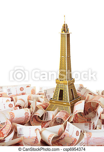 Model Eiffel Tower in the background of Russian banknotes - csp6954374