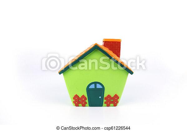 model house isolated on white background. - csp61226544