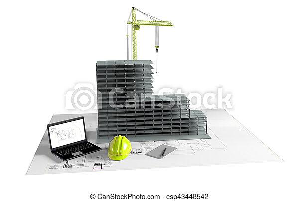 model house under construction, computer, helmet, 3D visualization - csp43448542