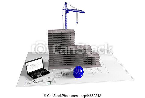 model house under construction, computer, helmet, 3D visualization - csp44662342