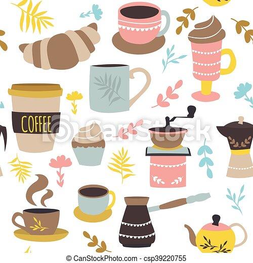 model, koffie, gebakje, seamless - csp39220755
