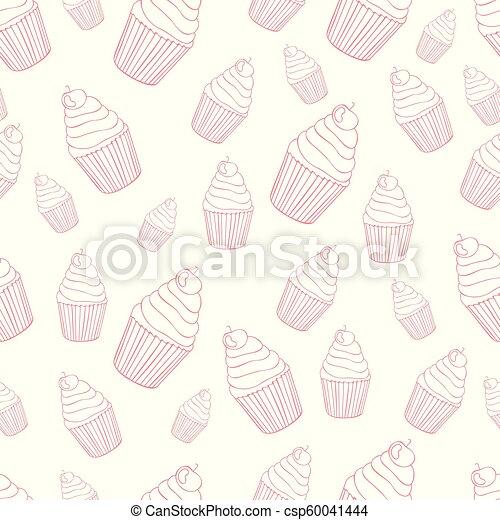 model, mooi en gracieus, seamless, achtergrond, cupcake - csp60041444