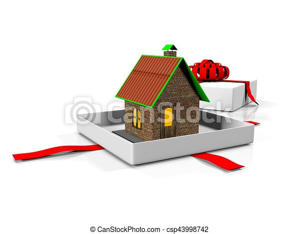 Model Of A House In Gift Box With Ribbon 3 Render