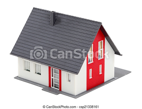 Model of a house isolated over white background - csp21338161