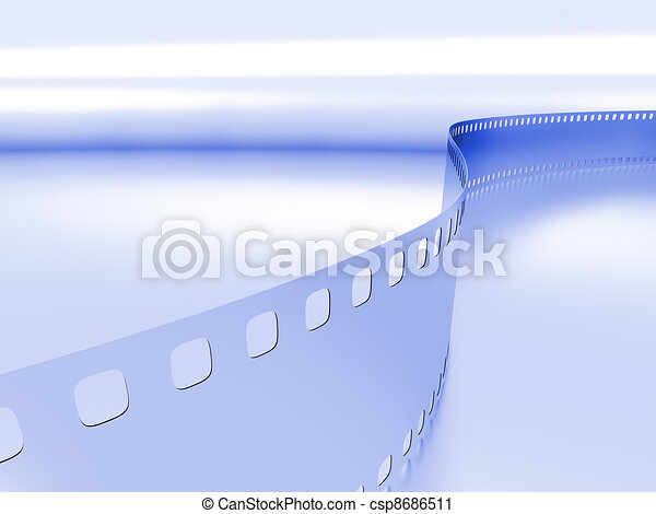 model of a photo film on a blue metallic background - csp8686511