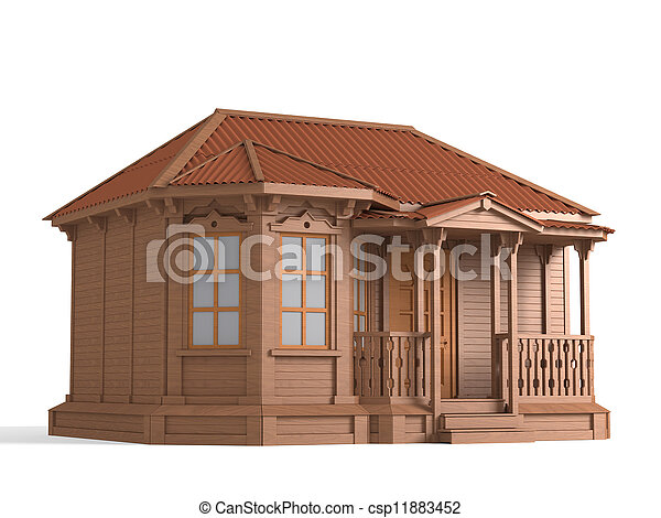 Model of a wooden house - csp11883452