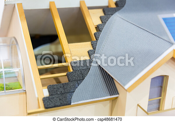 Model of house, thermal insulation of roof concept - csp48681470