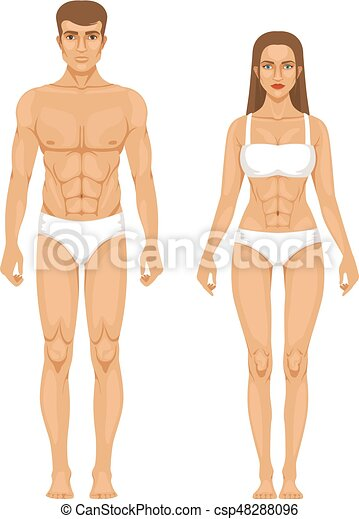 Model Of Sporty Man And Woman Standing Front View
