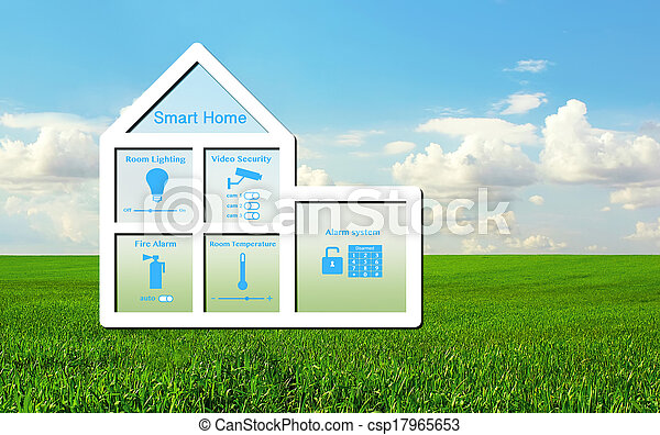 model of the house with a smart home system inside on a background of green grass and blue sky - csp17965653