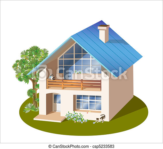 model of three dimensions family  house - csp5233583