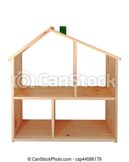 Model of wooden house isolated on white background - csp44586179