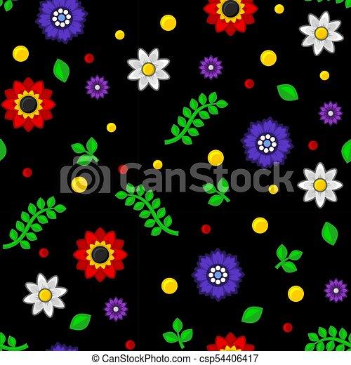 model, seamless, achtergrond., vector, black , floral - csp54406417