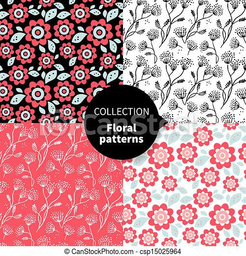model, seamless, floral, set, vector - csp15025964