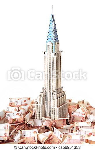 """Model skyscraper """"Chrysler Building"""" on the background Russian banknotes - csp6954353"""