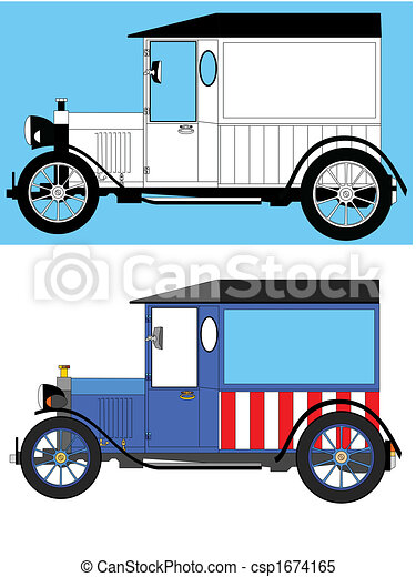 model t delivery van two version of a model t style clipart rh canstockphoto com  model t ford clipart free