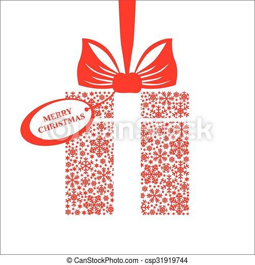 Un regalo decorado con cinta y etiqueta de saludo - csp31919744