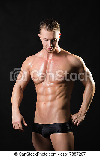 modell, starke , muscled, arme, mann - csp17887207