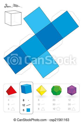 Modello carta hexahedron tutto quadrato platonic for Immagini tridimensionali gratis