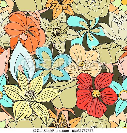 modello, fiori, seamless, molti - csp31767576