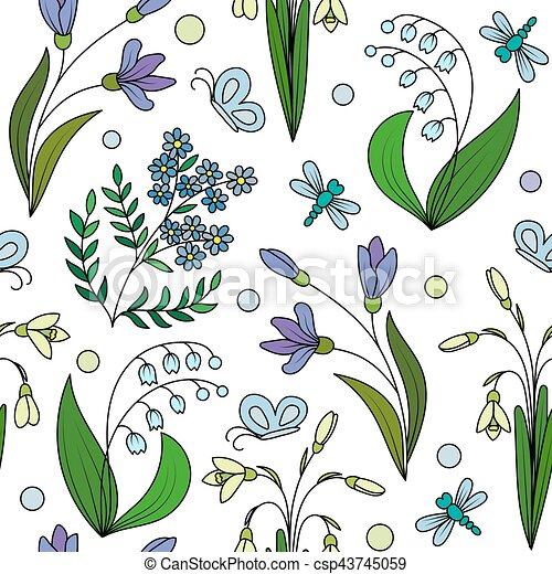 modello, fiori, seamless, primavera - csp43745059