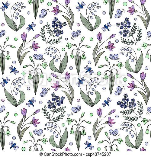 modello, fiori, seamless, primavera - csp43745207