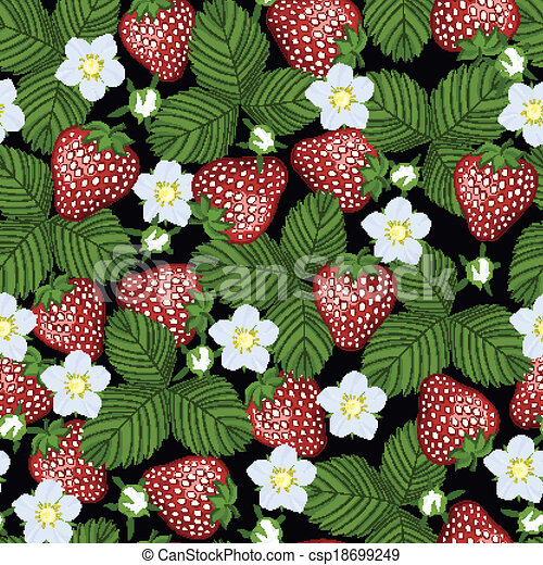 modello, fioritura, strawberry., seamless - csp18699249