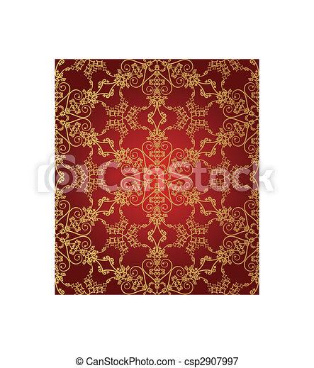 modello, rosso, seamless, oro, fiocco di neve - csp2907997