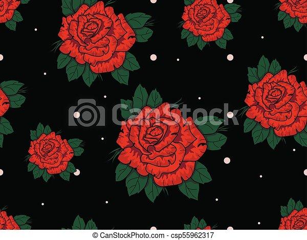 Modello Seamless Rose Sfondo Nero Rosso Rose Modello Seamless