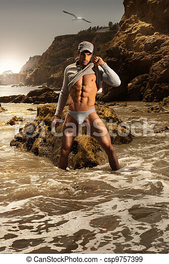 modelo, macho, moda - csp9757399
