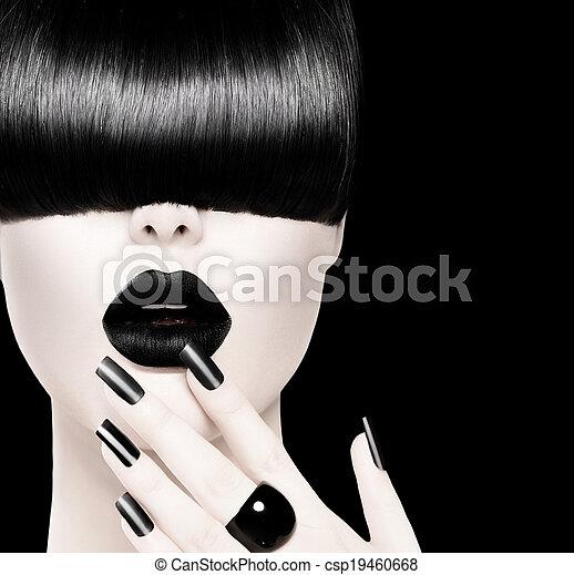 modelo, moda, alto, pretas, retrato, menina, branca - csp19460668