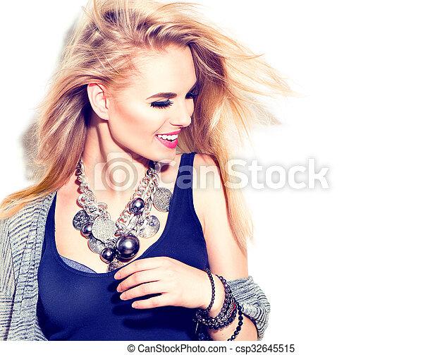 modelo, moda, menina, moda, isolado, style., rua, portrait., branca, casual - csp32645515