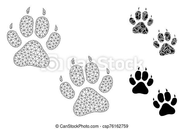 modelo, res muerta, tigre, huellas, malla, vector, icono, triángulo, mosaico - csp76162759