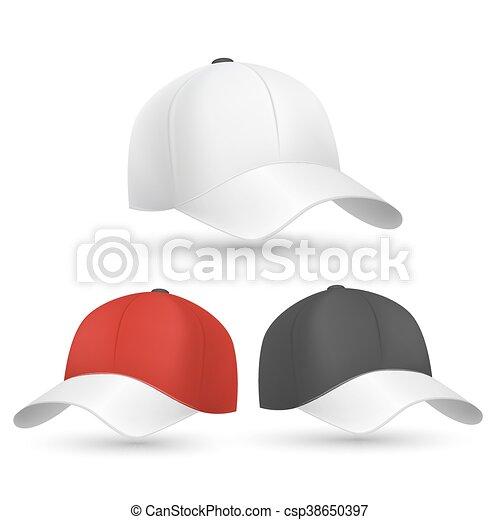 aa4d2e5170 modelos, boné, vetorial, basebol, pretas, branco vermelho