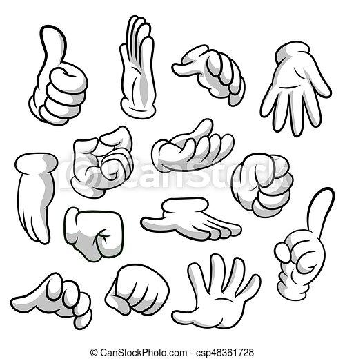 Modelos Jogo Corporal Clipart Eps 8 Collection Braços Vetorial Isolado Experiência Partes Desenho Gloves Mãos Luvas Branca Mão