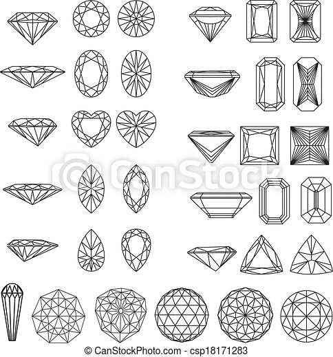 modeluje, diament, komplet, wireframe - csp18171283