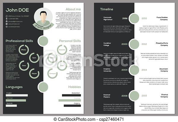 modern 2 sided cv resume csp27460471
