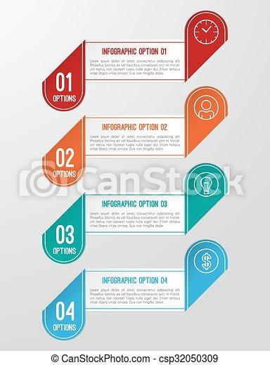 modern 3d folded paper infographics options banner modern 3d folded