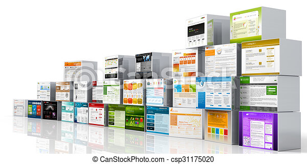 Modern 3d web design template website head mapped on aluminum modern 3d web design template website head mapped on aluminum boxes and white background stacked and arranged for advertising and promotions with space maxwellsz