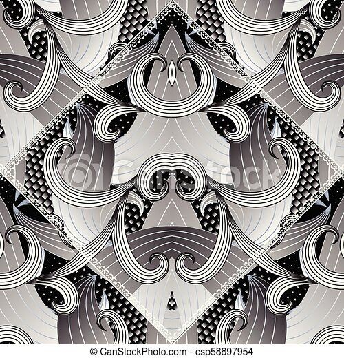 Modern Abstract Floral Vector Seamless Pattern
