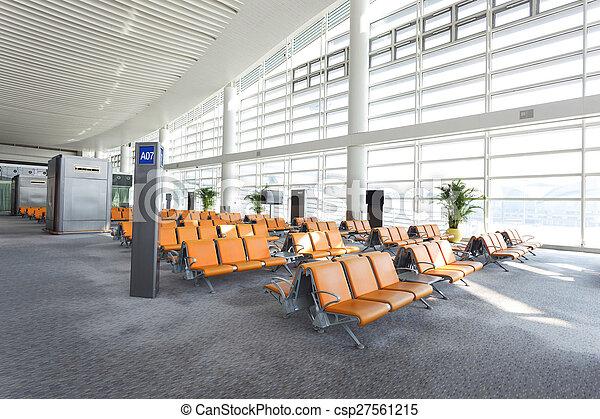 Modern airport waiting hall interior.
