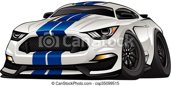 Modern American Muscle Car Cartoon  - csp35099515