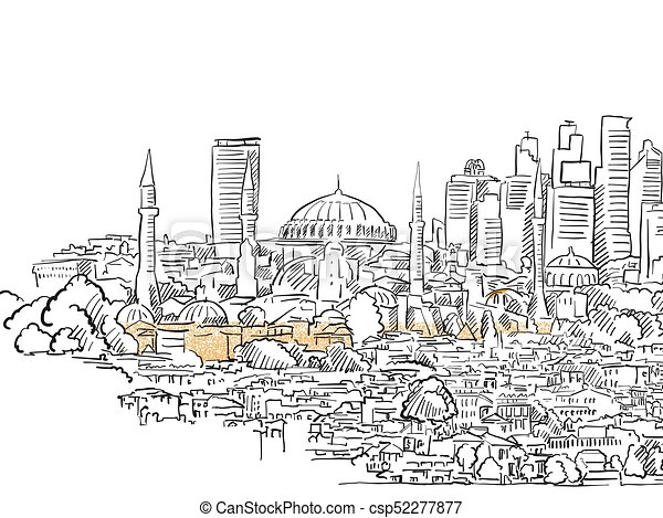 Modern And Old Istanbul Panorama Drawing