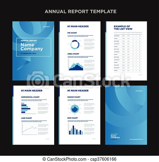 Modern Annual Report Template With Cover Design And  Clip Art