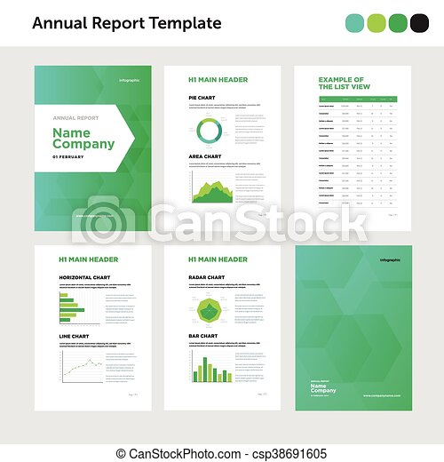 Modern Annual Report Template With Cover Design And  Vector