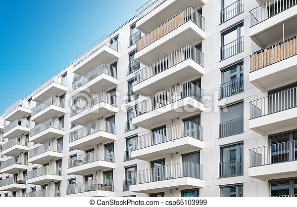 modern apartment building facade, real estate exterior