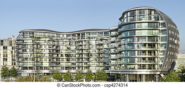 Modern apartment building. Modern, new executive apartments... stock ...