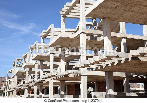 Modern apartment house under construction - csp11237944