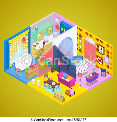 Modern Apartment Interior Design. Indoor House in Kitsch Style. Isometric  vector flat 3d illustration