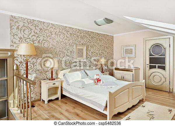 Modern art deco style bedroom interior in light beige colors  - csp5482536