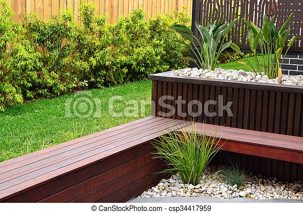 Modern Back Yard Design Ideas Combinations Of Plants Timber Wall